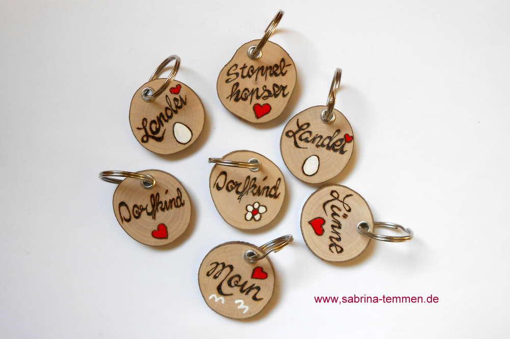 Schlüsselanhänger Holz Rund Originelle Deko Geschenke